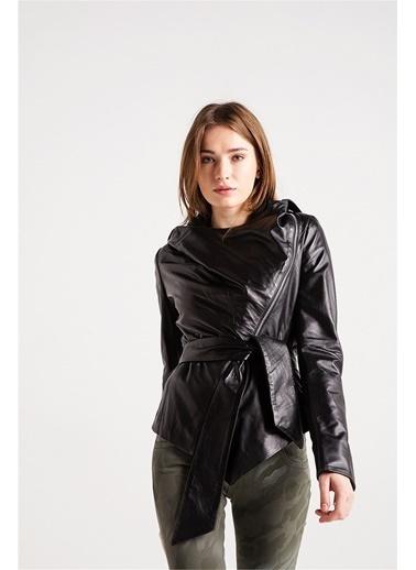 Love'n Fashion Paris Deri Ceket Siyah